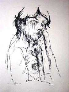 Aymeric Dechamps AyDe - Lithographie - Autoportrait