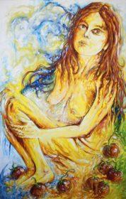 Portrait de jeune femme aux tomates - Aymeric Dechamps