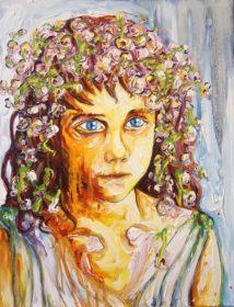 Portrait de jeune fille à la couronne de fleurs - Aymeric Dechamps